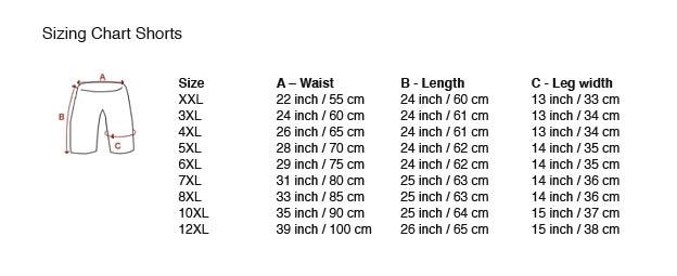 tableau avec des dimensions Shorts