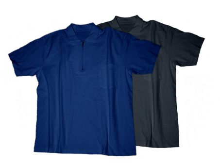 Polo T-Shirt Zip, noir et bleu-foncé